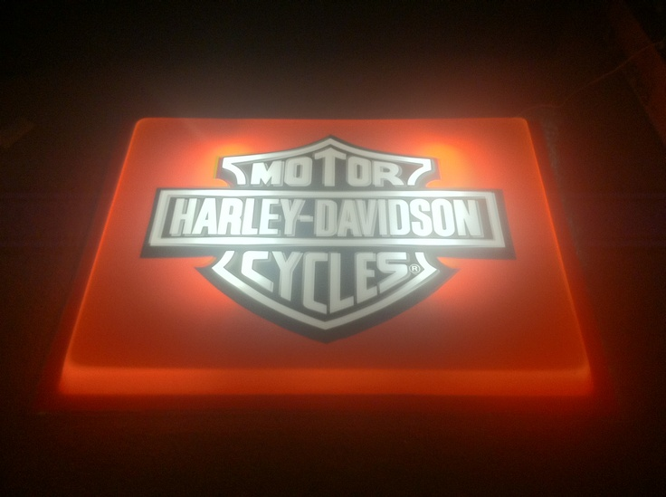 Harley store sign we bought at a garage sale is getting framed and lit for the Man Cave