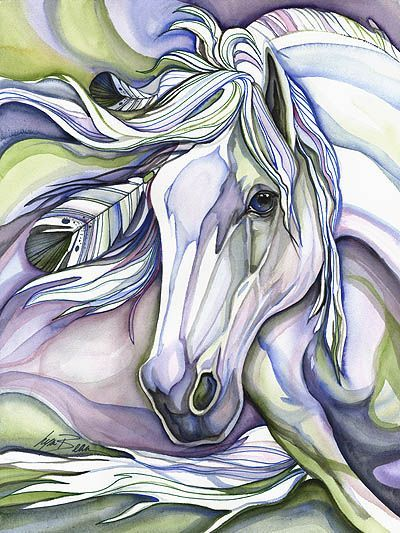 I wonder if this is a water color painting. Either way, this is horse painting is fantastic. It isn't surprising that horses are often used as the inspiration for art, they are majestic creatures!: