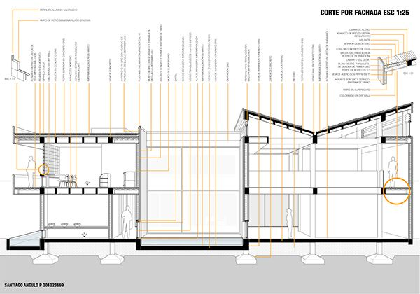 Architecure section cut https://www.behance.net/gallery/20407167/CF_Proyecto-Tectonica_Propuesta-Galeria_-20142