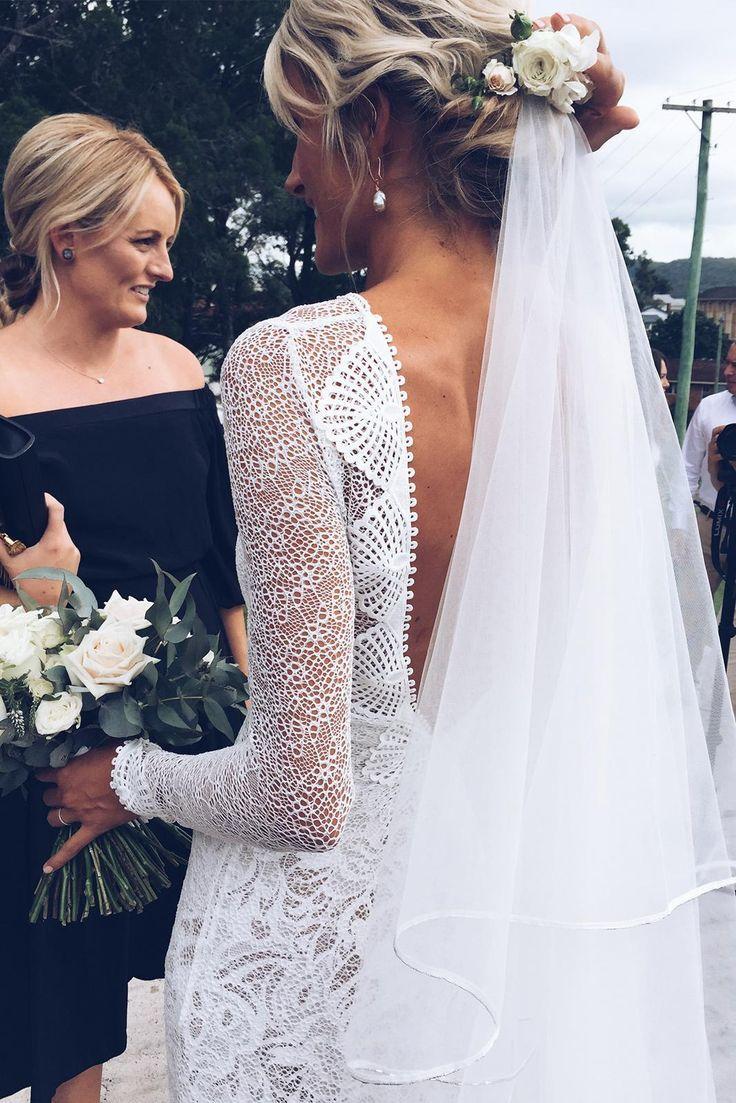 Lauren in our MAI gown, KINGA veil & GAIA earring | Grace Loves Lace
