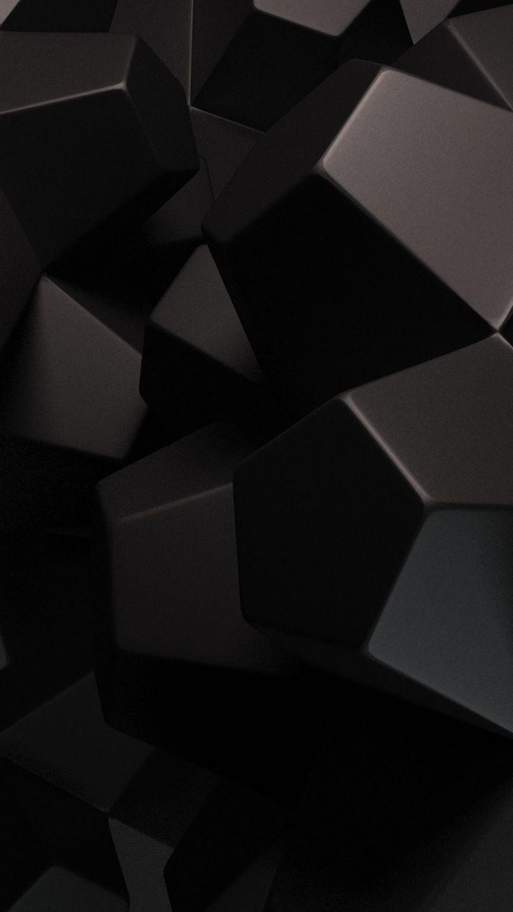 HD black 3d iPhone wallpaper, 3d mobile background