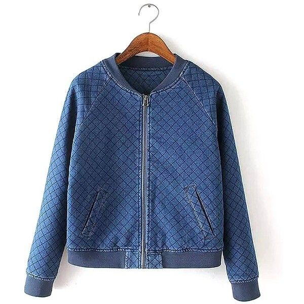 Yoins Yoins Denim Quilted Bomber Jacktet (€32) ❤ liked on Polyvore featuring outerwear, blue et coats & jackets