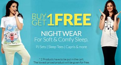 Buy 1 Get 1 Free On Soft & Comfy Coucou Women's Nightwear Under Rs.895