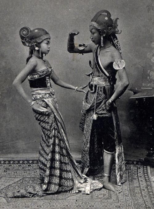 Young Javanese dancers, Java. Date unknown.