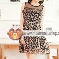 Vestido de Chifon com Estampa de Leopardo