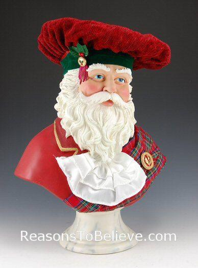 Scottish Santa Bust--Santa is dressed in traditional Scottish attire.