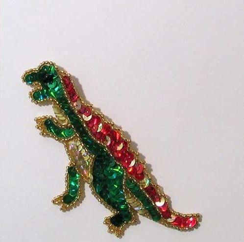 """E176 Green T-Rex Dinosaure Sequin Beaded Applique 4"""""""