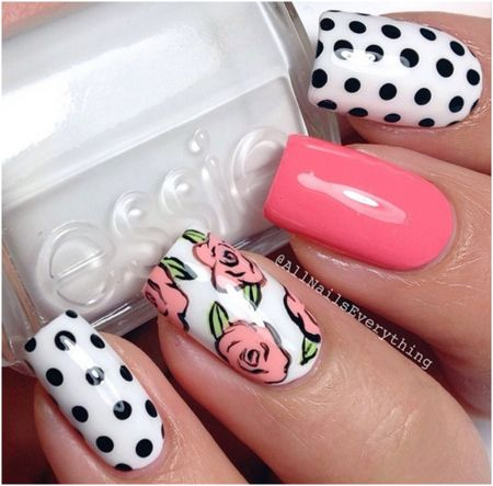 Cute summertime polka dot, pink & flower nail art.