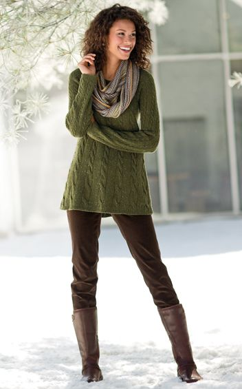 I love this whole look--I have boots like these in black but love the color & length of the sweater and the scarf.