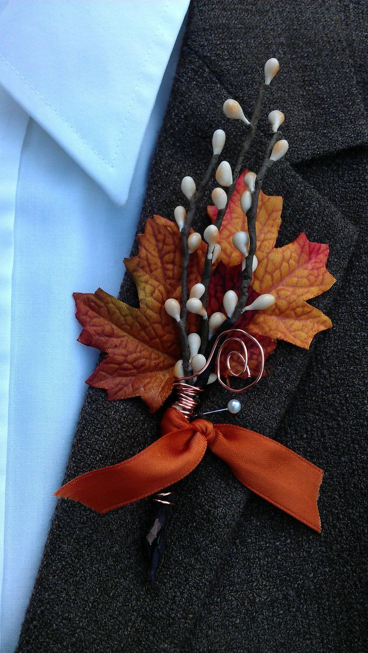 Fall Wedding Boutonniere - Maple & Twigs. $12.00, via Etsy.