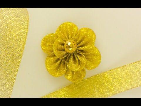 DIY: How to make Kanzashi ribbon flower like a snow flake. - YouTube