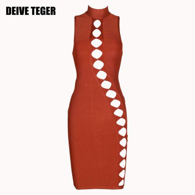 DEIVE TEGER Women orange winter cut Out Bodycon Bandage Dresses Slim Nignt Club Vestidos Women celebrity sexy Dress