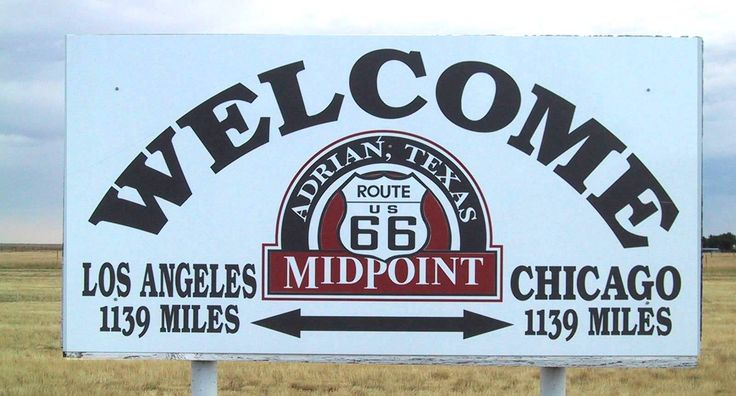 """TEXAS, Adrian - """"Geo-mathematical"""" MidPoint of Route 66!  1139 miles to Los Angeles -------1139 miles to Chicago.  When you're here, you're halfway there!"""