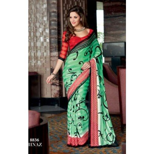FLOWER PRINT GEORGETTE SAREE WITH BLOUSE   RFAYY-8836