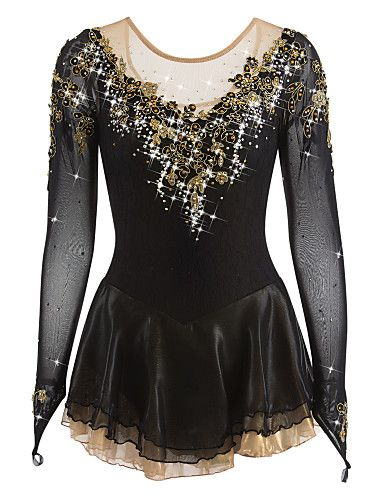 Figure Skating Dress Women's Girls' Ice Skating Dress Black Spandex Rhinestone Appliques High Elasticity Performance Skating Wear Handmade