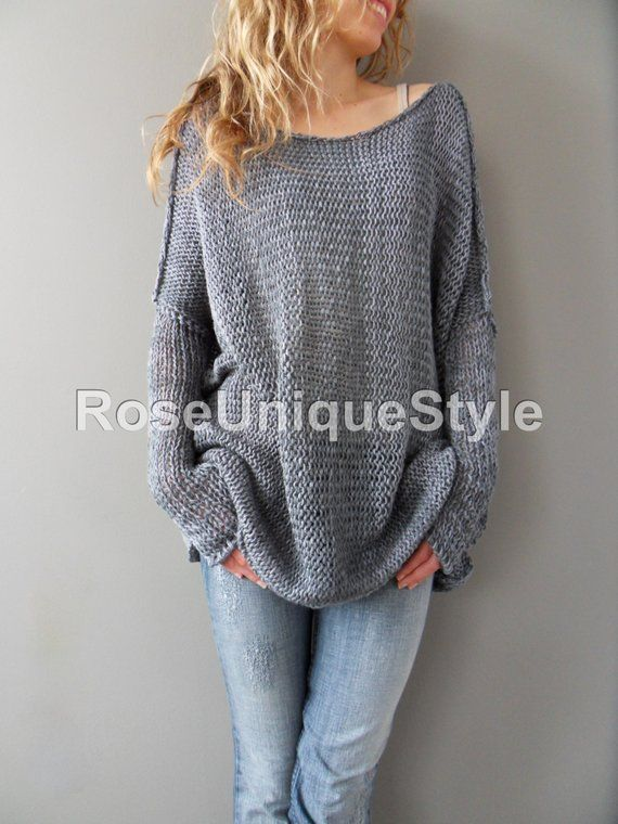 61a2f283c Oversized Bulky Slouchy woman knit sweater. Cotton blend