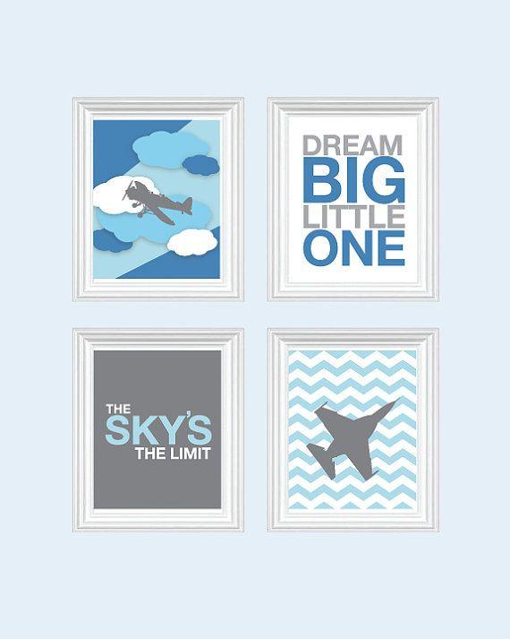 Baby Boy Nursery Art Chevron Airplane Nursery, Baby Nursery Decor, Playroom Rules Quote Art, Kids Wall Art Baby, Dream On on Etsy, $49.99