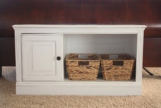 Re-purposed tall entertainment center. This is an awesome blog.