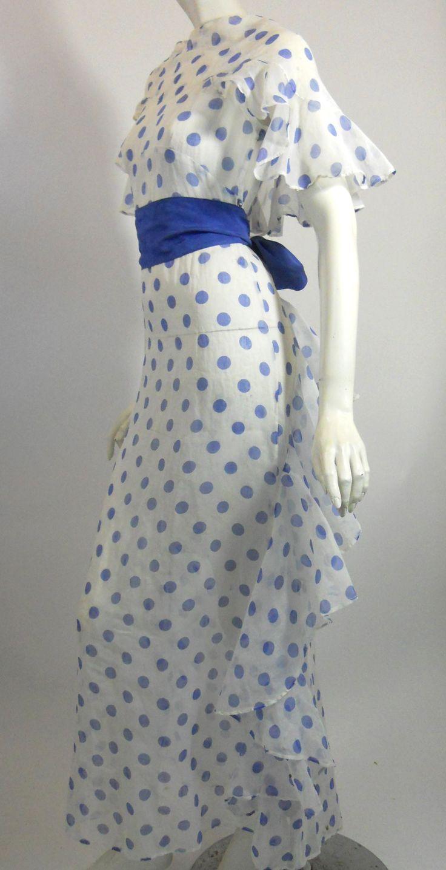 ~1930s polka dot organza gown~