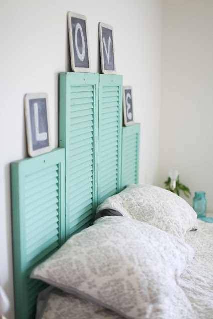 DIY shutter headboard | Samantha Elizabeth make the shutters a white and country  blue and a little more rustic looking and this is gorg