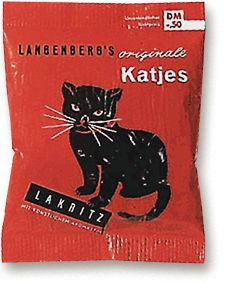 Langenberg's originele katjes drop Lakritz - verpakking uit 1950