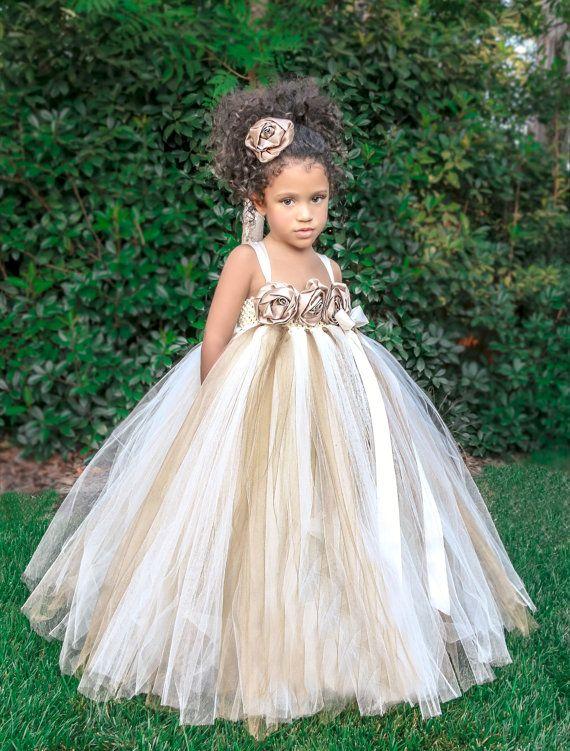 Ivory Gold Champagne Flower Girl Dress by PrincessLondonsTutus, $80.00