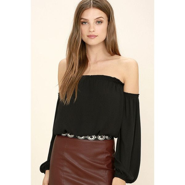 It Girl Black Off-the-Shoulder Crop Top ($25) ❤ liked on Polyvore featuring tops, black, smock top, off shoulder tops, off shoulder crop top, lush tops and smocked top