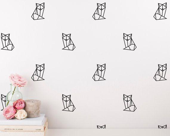 Stickers g om trique fox fox wall decal ensemble - Stickers chambre d enfant ...