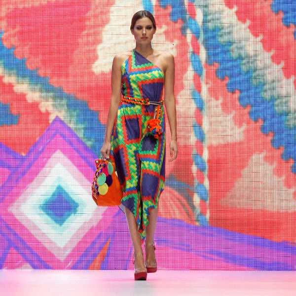 A model presents a creation by designer Marta Arredondo of Colombia from her collection inspired by Wayuu Indian culture during the Fall/Winter 2013/2014 collection for Platform Bogota at Bogota Fashion Week.