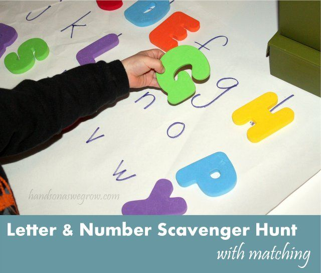 Letter & Number Scavenger Hunt - find the hidden numbers and letters and place them on their corresponding match.