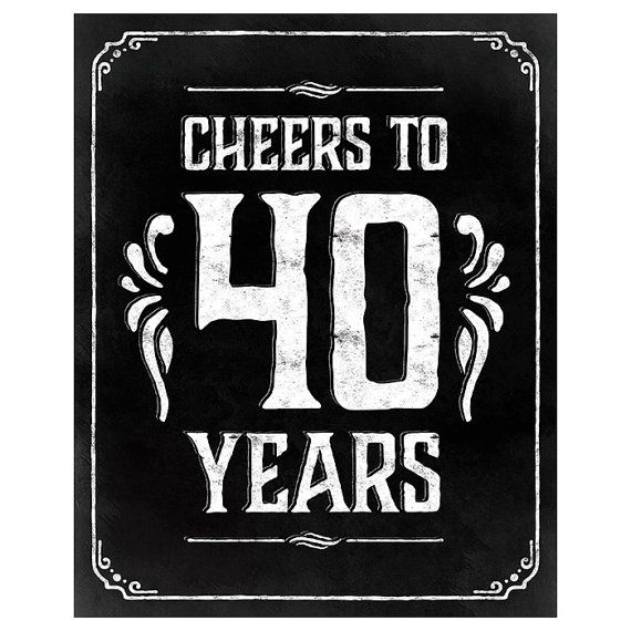 40th Birthday Decorations. Cheers To 40 Years. Printable