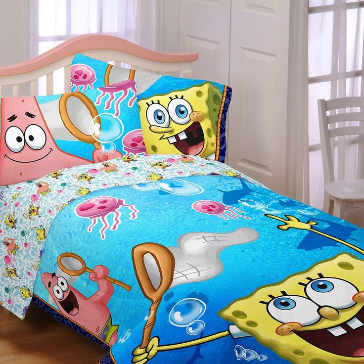 full size sheet set features sponge bob and patrick includes 1 flat sheet 81 by 1 fitted sheet 54 by 75 by and 2 reversibl