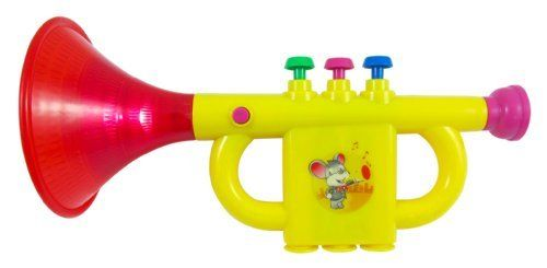 "Musical Trumpet Toy Instrument for kids by Toy Trumpet. $6.95. Play this trumpet and fill the room with music!   This fun trumpet plays 7 song tunes.  Press the 3 keys that advance the songs.   Blow into mouth pieces to make whistle sounds.  The trumpet also lights up!  Trumpet measures 9"" long.  Requires 2 AA batteries (not included)."