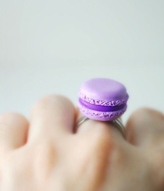 Ahhhh cute!! Lavender French Macaroon Ring Handmade by DIVINEsweetness on Etsy, $16.00