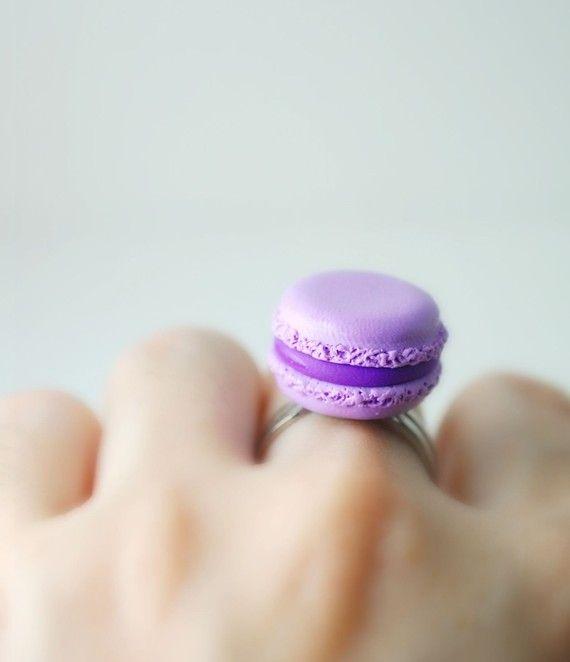 Lavanda - amaretto francese anello - fatto a mano - miniatura cibo - Fimo - cibo gioielli - Parigi - Fimo cibo - cibo anello