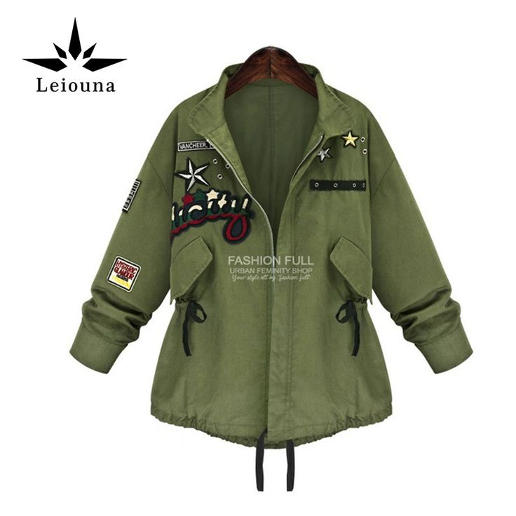 Leiouna Fashion Army Green Floral Embroidery Big Size 5xl Loose Female Bomber Jackets Anorak Warm Windbreaker Cardigan Fall #Affiliate