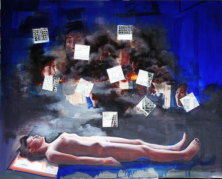 ''Kaligrafia tortury-gwalty wielokrotne'' Angelika Korzeniowska,  olej na płótnie, 120 x150 cm 2015 r