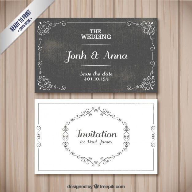 Cartões retros do casamento Vetor grátis