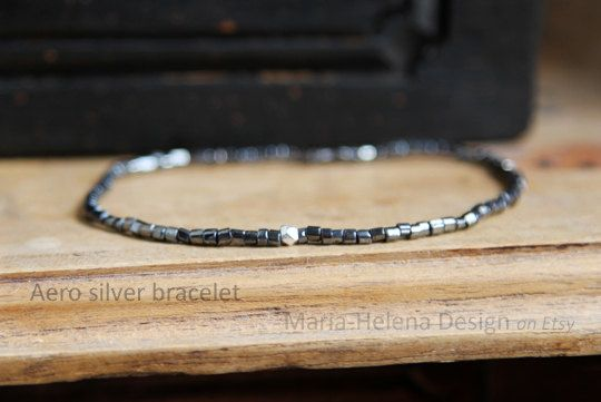 Aero silver small bead bracelet by Maria-Helena Design
