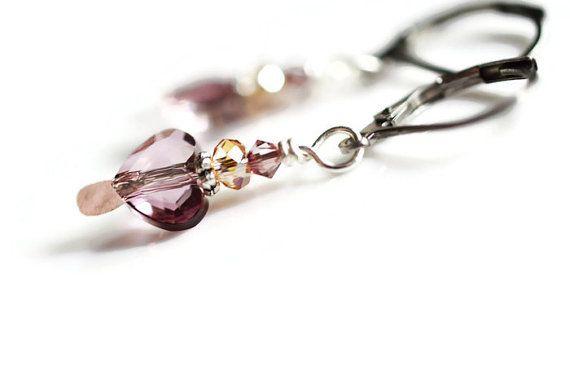 Swarovski Heart Earrings Surgical Steel Earrings Pink by harmony5