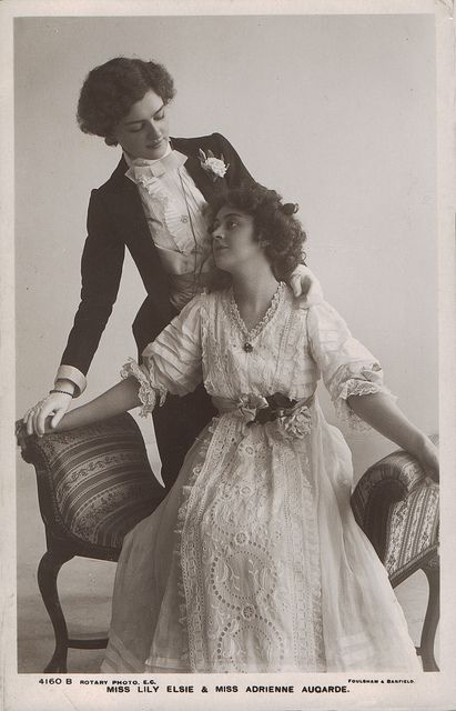 1907-Lily Elsie and Adrienne Augarde. lesbian, lesbians, nostalgica, vintage, women's history, belle epoque, 1920, 1930, 1940, 1950