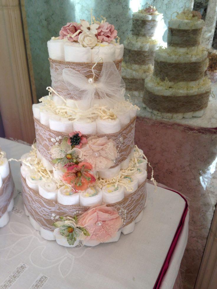 Rustic garden diaper cake