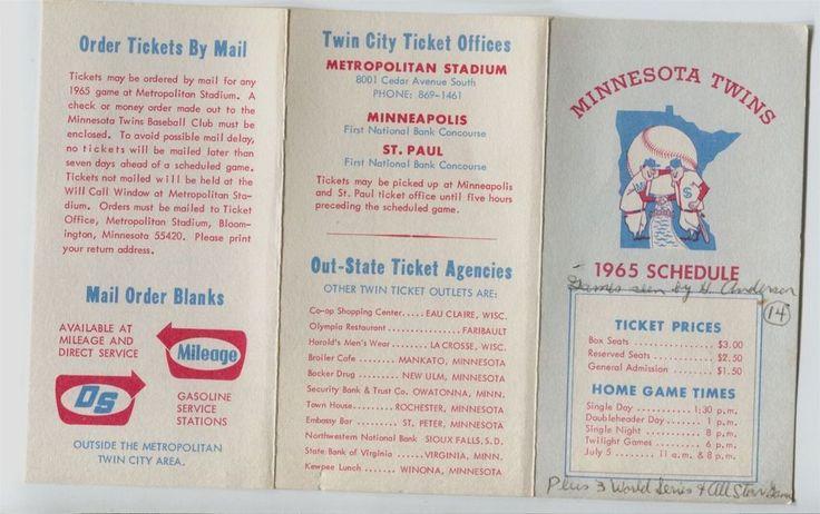 1965 Minnesota Twins Baseball pocket schedule