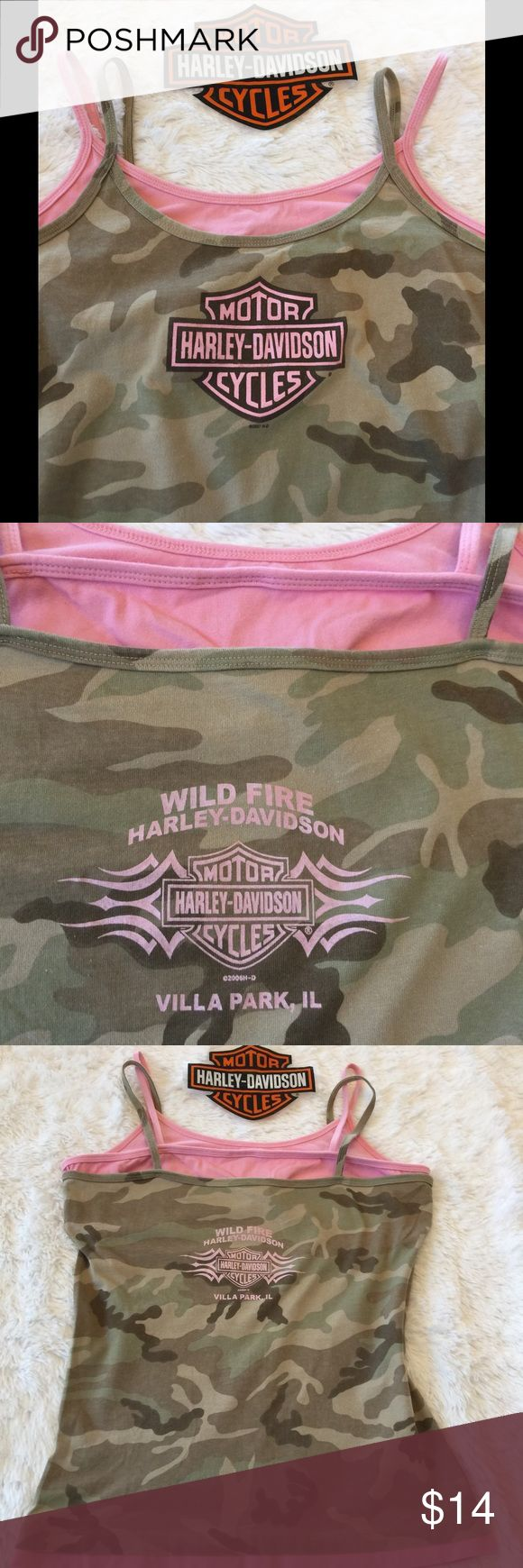 Pink and camo Harley Davidson tanks Pink/Army  Harley Davidson tee. In good used condition. No holes, rips, stains, or spots.  No pets/no smoke,  built in bra Harley-Davidson Tops Tank Tops