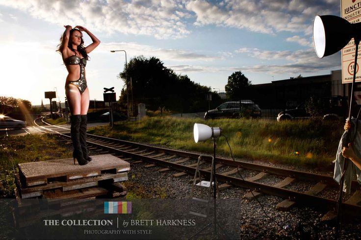 Shooting Liz by the train tracks