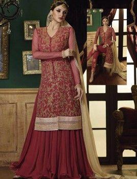 Pink Indo Western Anarkali Lehenga For Wedding Wear