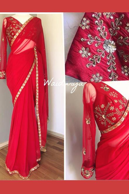 buy online red color Designer heavy Embroidery saree  3c998640d6