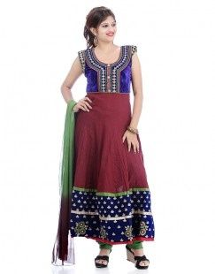 Blue And Brown Pure Velvet Chiffon Anarkali Suit