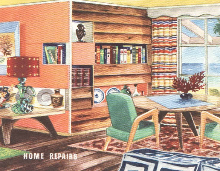 Mid Century Interior Decor 1950s House Furniture Furnishings Vintage House  Interior Design.