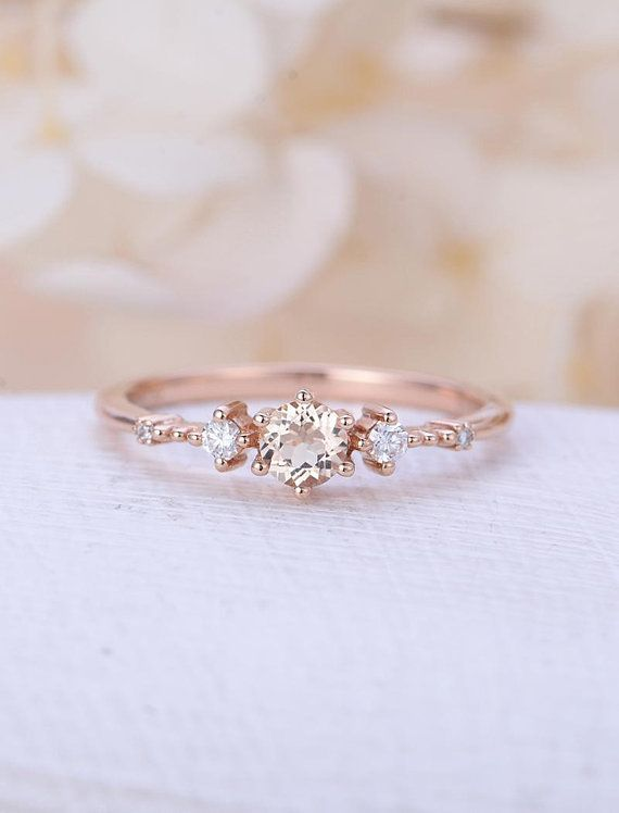 Morganite engagement ring rose gold Unique diamond Cluster ring Vintage wedding Mini stone Bridal set Jewelry Anniversary Gift for women